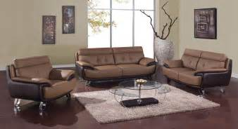 Modern Livingroom Sets Contemporary Brown Bonded Leather Living Room Set St