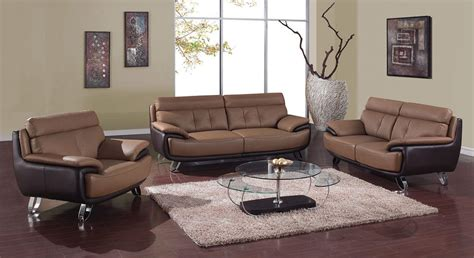 Contemporary Tan Brown Bonded Leather Living Room Set St Living Room Sets Leather