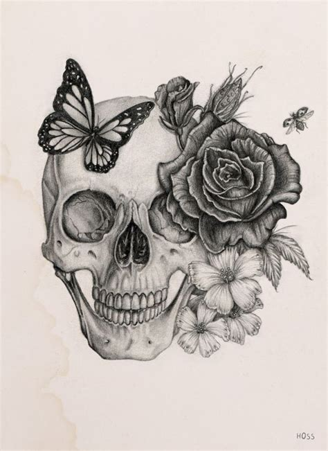 skull butterfly rose tattoo skull by boudos simon via behance sкυℓℓѕ