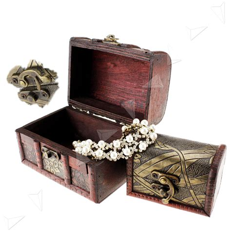Wooden Pirate Storage Box Vintage Treasure Chest 3 x wooden pirate jewellery storage box holder vintage treasure chest