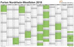 Kalender 2018 Nrw Kalenderwochen Ferien Nordrhein Westfalen 2018 Ferienkalender Zum