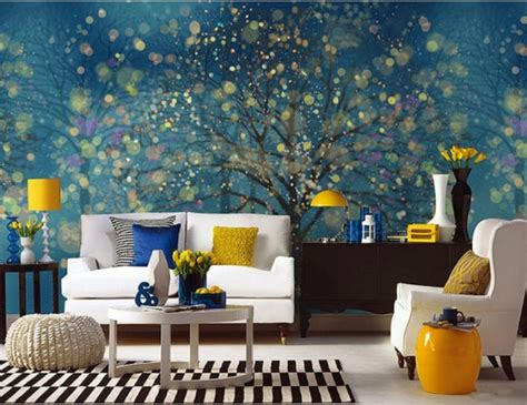 living room murals modern family living room with blue mural and white sofa
