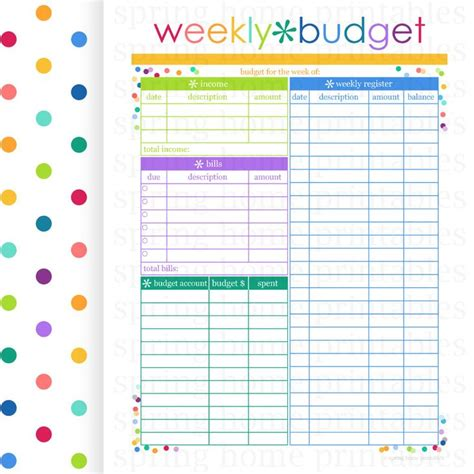Monthly Bill Planner Printable