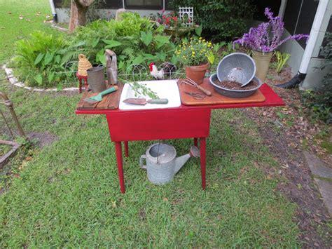potting bench b q red shed vintage trash talk thursday sew simple potting