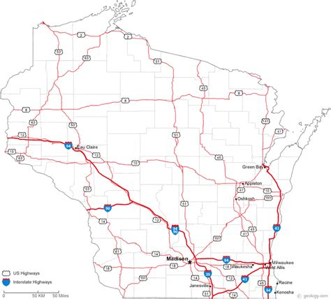driving map of wisconsin map of wisconsin