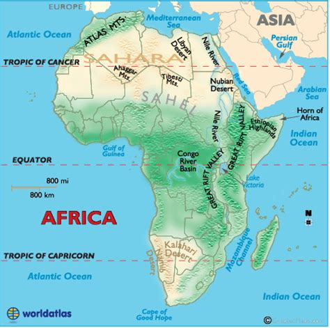 africa map of physical features physical features of africa ags geography