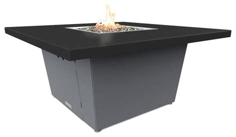 Black Propane Pit Table Square Pit Table 44x44 Chat Height Propane Black