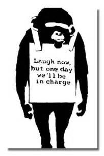 banksy laugh now white street graffiti stencil art