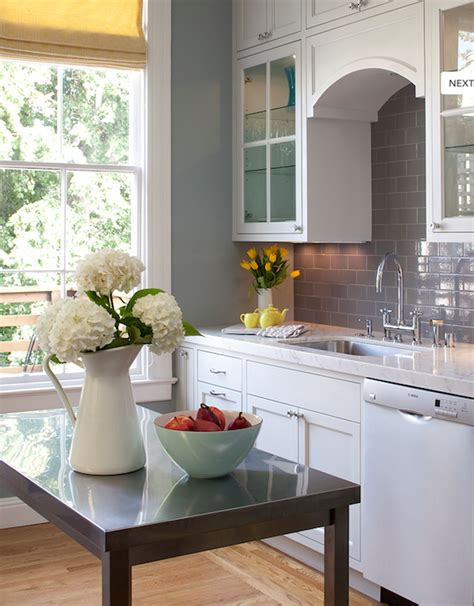 Kitchen White Cabinets Gray Walls Gray Subway Tile Backsplash Contemporary Kitchen Artistic Designs For Living