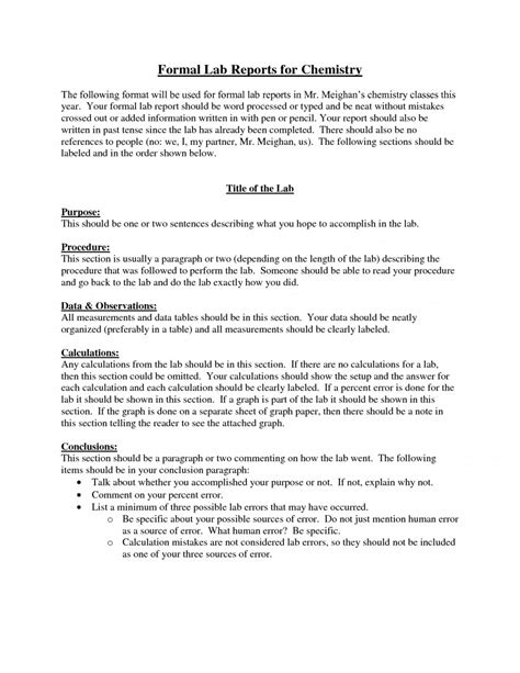 chemistry lab report template business template