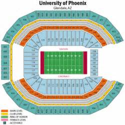 University Of Phoenix Stadium Parking Map by University Of Phoenix Stadium Seating Chart University Of