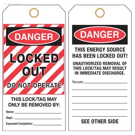 printable danger tags custom printed lockout tagout osha hang tags st