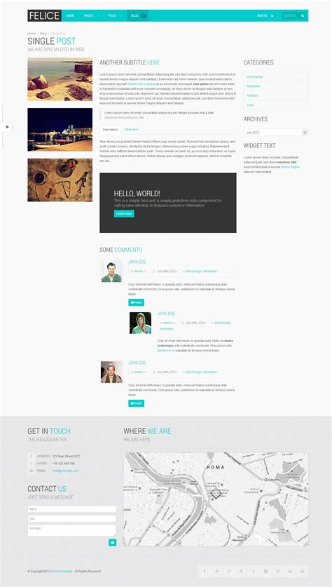 bootstrap layout w3c felice onepage multipage bootstrap template by