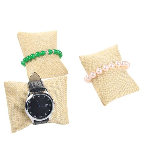pillow holder linen bracelet bangle watch pillow holder for jewelry display case box r