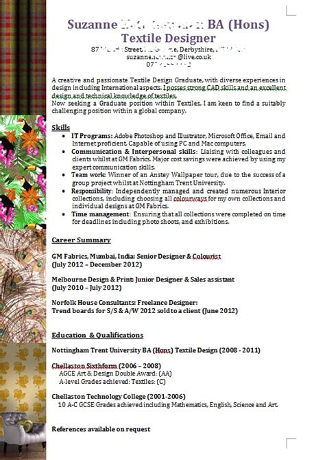 textile design cv template 17 best images about ntu creative cv gallery on pinterest