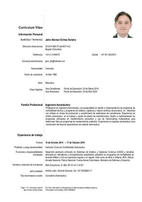 Ejemplo Curriculum Vitae Administrativo Comercial Cv Jairo Ochoa 15 De Noviembre 2014