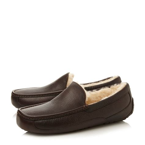 ugg slippers ugg m ascot slippers in brown for lyst