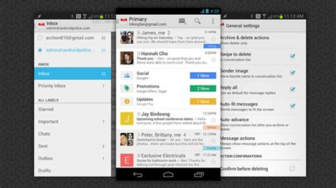 gmail android gmail 4 5 launches on android tabs slide out navigation