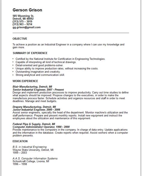 Industrial Engineer Resume Sample by Engineering Resume Examples