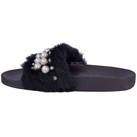 flat slippers for womens womens flat slip on faux fur sliders pearl sandals