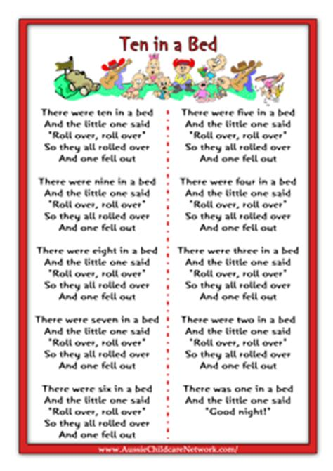 the bed song lyrics ten in a bed rhymes worksheets nursery rhymes