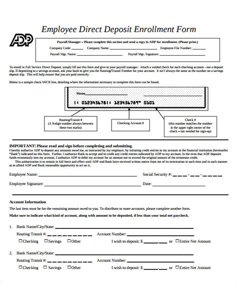 direct deposit forms for employees template sle employee forms 11 documents in pdf