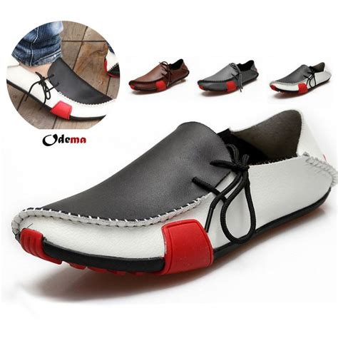 2013 popular mens shoes flat genuine leather driving