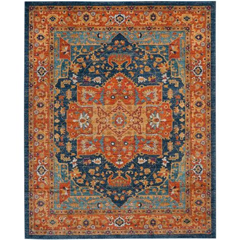 10 By 10 Area Rugs Safavieh Evoke Blue Orange 8 Ft X 10 Ft Area Rug Evk275c 8 The Home Depot