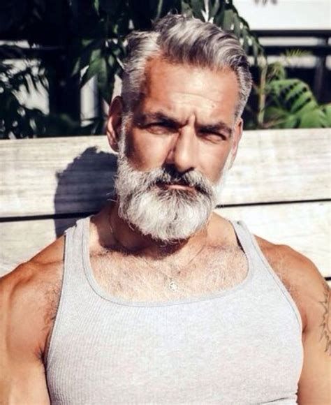 good looking gray haired men handsome grey haired man with beard silver foxes