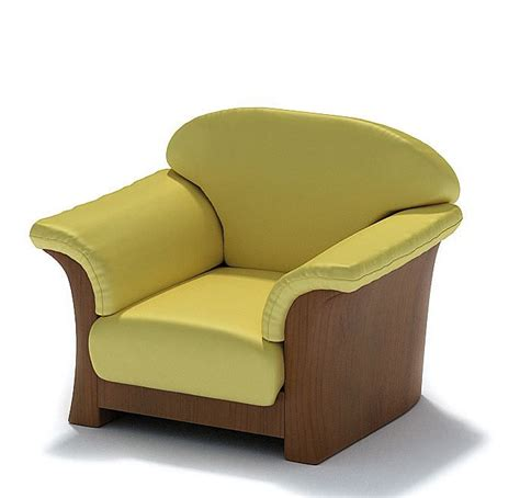 Yellow Leather Recliner Yellow Leather Armchair 3d Model Cgtrader