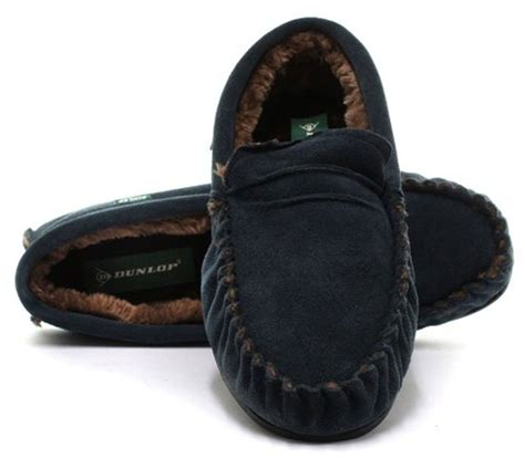 mens leather moccasin slippers mens dunlop genuine leather suede moccasin slippers soft