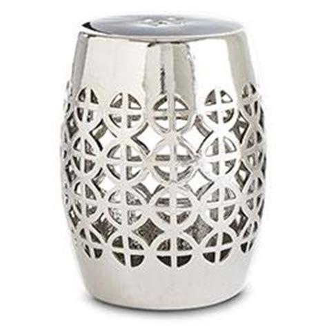 silver garden stool geometric silver garden stool