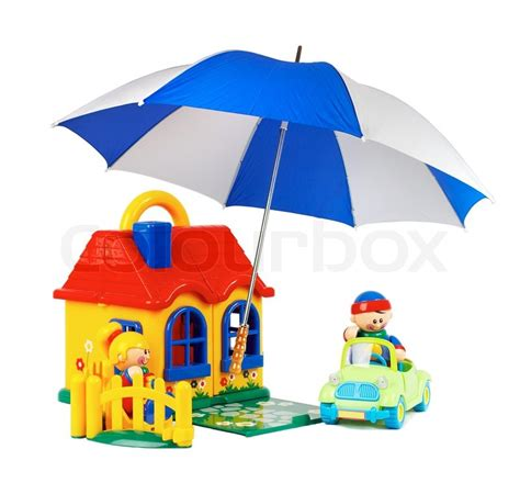 is the white house insured the house the machine family insurance toys on a white background stock photo