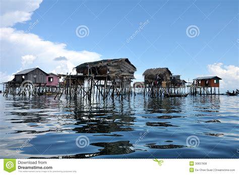 blue seas house floating bajau fisherman s house on the sea royalty free