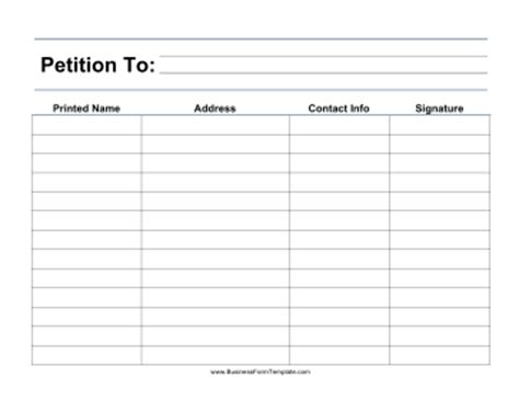 free blank petition template sle petition form a name address contact information and signature can be