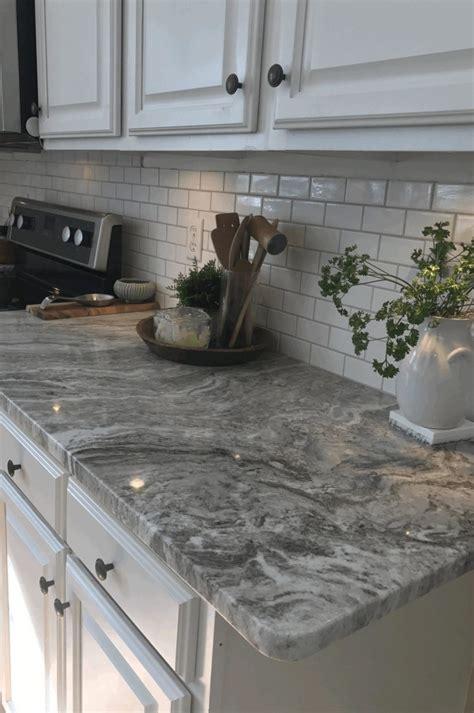 Exposed White Brick Wall Backsplash Grey Granite