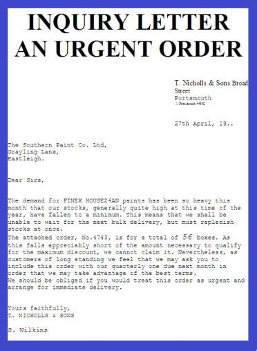 an urgent order business letter exles