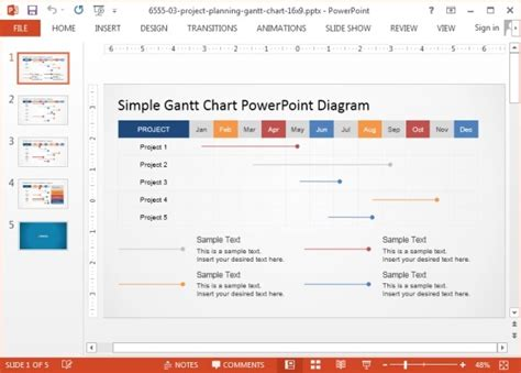 Animated Gantt Chart Powerpoint Templates Powerpoint Gantt Chart Template Free