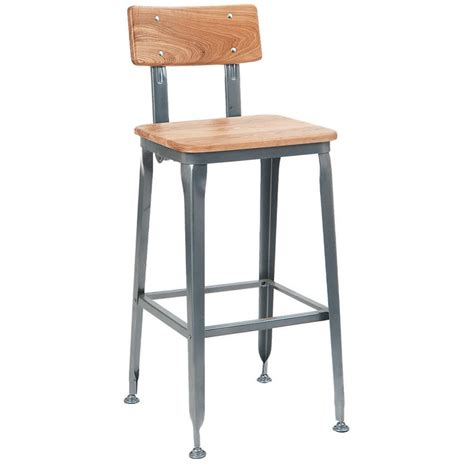 Industrial Bar Stool With Back Industrial Metal Bar Stools With Backs Grey Industrial Series Metal Bar Stool With Wood Back