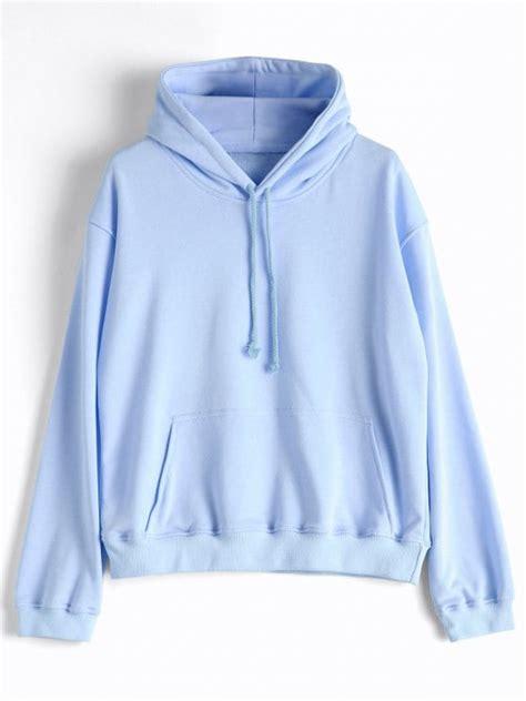 light blue hoodie womens 44 2018 casual kangaroo pocket plain hoodie in