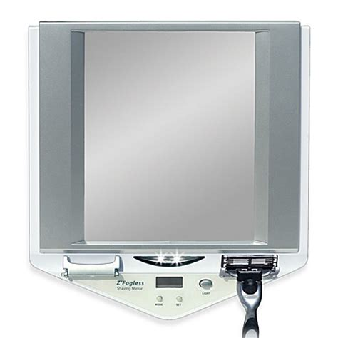 Fogless Bathroom Mirror Buy Z Fogless Led Lighted Fog Free Shower Mirror With Lcd Clock From Bed Bath Beyond