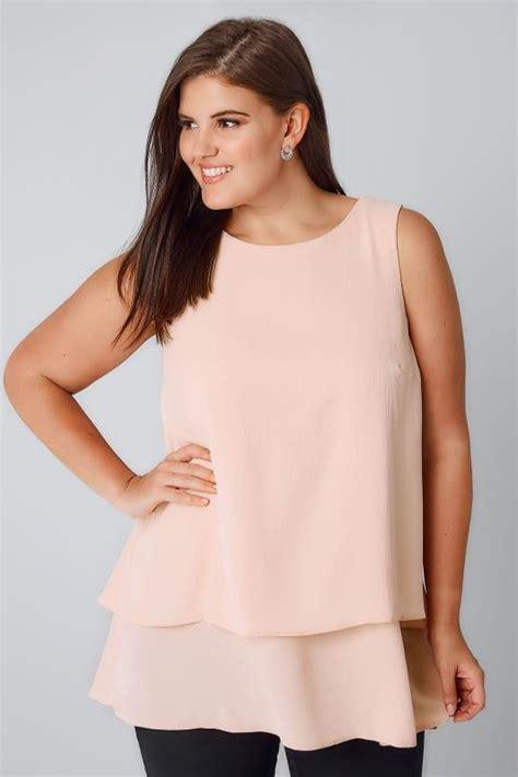 Layer Top blush pink layer longline top with dip hem plus