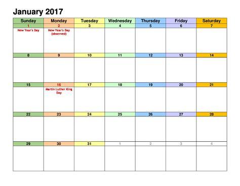 january 2017 calendar excel blank calendar printable