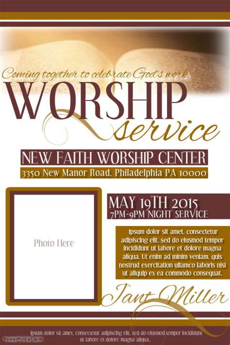 templates for church posters worship service template postermywall