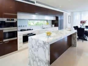 modern galley kitchen design using marble kitchen photo