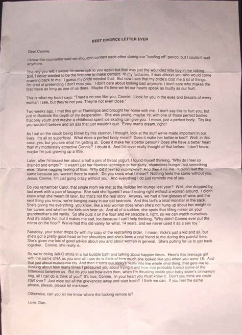 Best Divorce Letter Use This For Your Inspiration To Dump That Best Divorce Letter The Tom Leykis Show