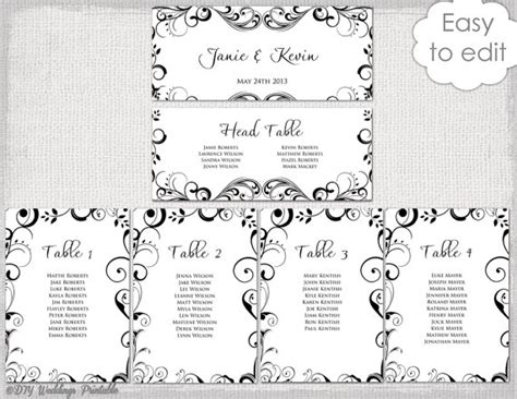 wedding seating chart template black and white