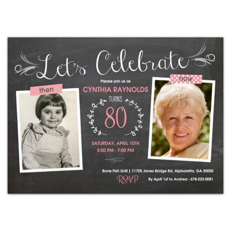 Then And Now Chalkboard  Ee  Birthday Ee   Invitations Paperstyle
