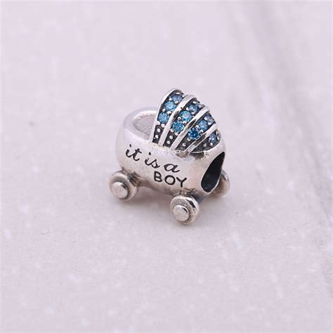 real 925 sterling silver paved blue aaa cz baby carriage