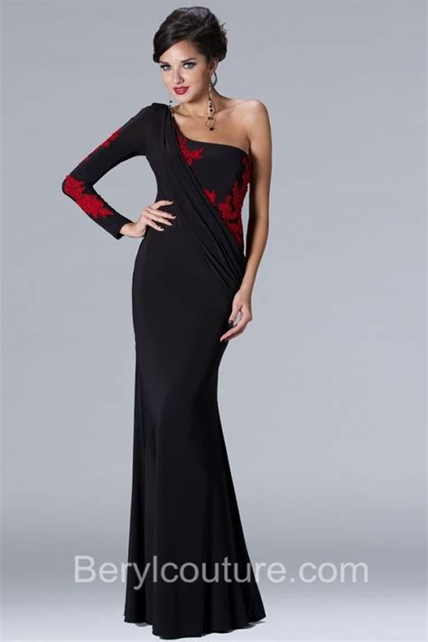 black and white long sleeve red dress one sleeve party dresses dress yp